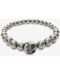 Alexander McQueen - Perlenbesetztes Skull-Armband - Lyst