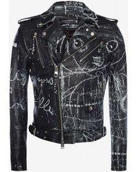 Alexander McQueen - Printed Biker Jacket - Lyst