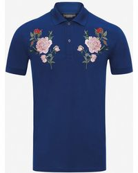 Alexander McQueen - Rose Embroidery Polo Shirt - Lyst