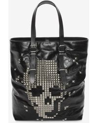 Alexander McQueen | Black Calf Leather Open Shopper With Studded Skull Front | Lyst