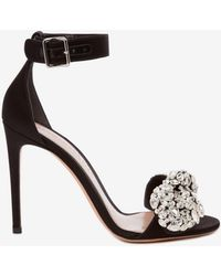 dbbd807b3e9 Lyst - Alexander McQueen Armadillo Lowheel Doublearched Suede Sandal ...
