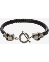 Alexander McQueen - Skull T-Bar Leather Bracelet - Lyst