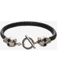 Alexander McQueen - Skull T-Bar Leather Bracelet - Lyst