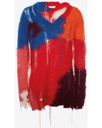 Alexander McQueen - Distressed Mohair Intarsia V-neck Jumper - Lyst