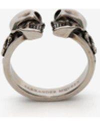 Alexander McQueen - Twin Decorative Skull Ring Silver - Lyst