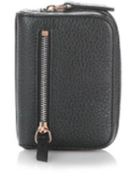 Alexander Wang - Fumo Mini Zip Around Wallet In Pebbled Black - Lyst