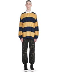 T By Alexander Wang - Striped Long Sleeve Collared Rugby Shirt - Lyst