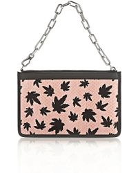 Alexander Wang - Attica Chain Flat Pouch In Cameo Pink With Leaf Print - Lyst