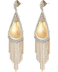 Alexis Bittar - Crystal Capped Tassel Chain Post Earring - Lyst