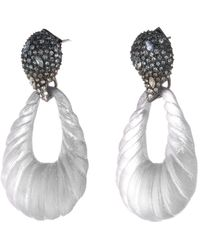 Alexis Bittar Frosted Crystal Encrusted Ombre Paisley Rope Teardrop Post Earring