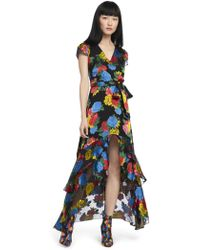 Alice + Olivia - Erika Ruffle Midi Dress - Lyst