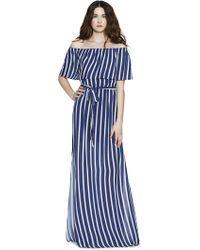 Alice + Olivia - Grazi Off The Shoulder Maxi Dress In Navy - Lyst
