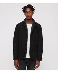 AllSaints - Survey Classic Fit Layered-collar Leather Blazer - Lyst