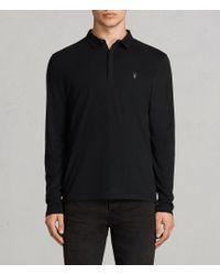 AllSaints - Brace Long Sleeved Polo Shirt - Lyst