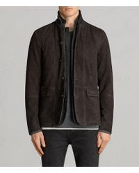AllSaints - Survey Leather Blazer - Lyst