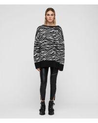 AllSaints - Zebra Stripe Sweater - Lyst