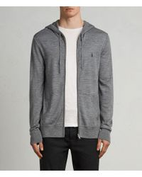 AllSaints - Mode Slim Fit Merino Wool Zip Hoodie - Lyst