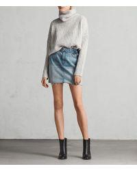 AllSaints - Bette Belted Denim Mini Skirt - Lyst