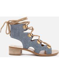 e06c782565ac Lyst - See By Chloé Women s Denim Print Suede High-heel Platform ...
