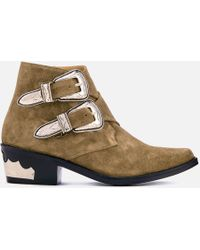 Toga Pulla - Suede Double Buckle Heeled Ankle Boots - Lyst