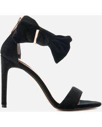 Ted Baker - Women's Torabel Velvet Barely There Heeled Sandals - Lyst