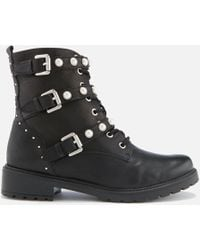 Dune - Risky Black Leather Buckle Ankle Boot - Lyst