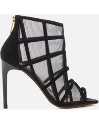 f16263ceb640 Ted Baker - Women s Xstal Suede patent Caged Heeled Sandals - Lyst