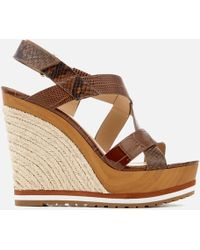 MICHAEL Michael Kors - Mackay Embossed Croc/leather Wedged Sandals - Lyst