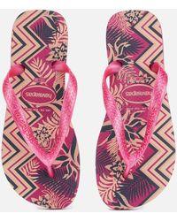 83e7455dc145 Lyst - Havaianas Slim Crystal Flip-flops in Pink