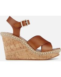 Dune - Karena Leather Wedged Sandals - Lyst