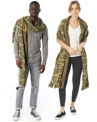 Alternative Apparel - Fringed Printed Eco Fleece Scarf - Lyst
