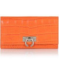 Amanda Wakeley - Marrakech Orange Croc Leather Lennon Wallet - Lyst