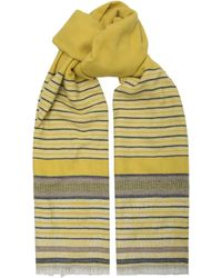 Amanda Wakeley - Yellow Stripe Wool Blend Scarf - Lyst