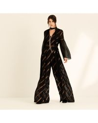 Amanda Wakeley - Black Metallic Chiffon Stripe Jumpsuit - Lyst