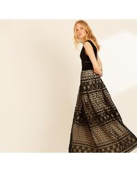 Amanda Wakeley - Black & Oyster Graphic Guipure Long Dress - Lyst