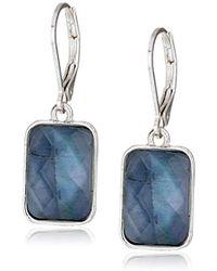 Nine West - Silver-tone And Blue Drop Earrings, Size 0 - Lyst