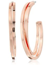 "T Tahari - ""essentials"" Bright Logo With Cry Cubic Zirconia Stone Hoop Earrings - Lyst"