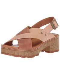 Caterpillar - Lia Adjustable Back Strap Leather Cris Cross Sandal Heeled - Lyst