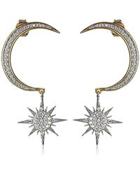 Noir Jewelry - Crescent Moon And Starburst Drop Earrings - Lyst