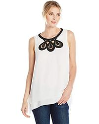Lark & Ro - Sleeveless Blouse With Embroidered Neckline - Lyst