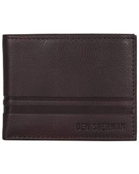Ben Sherman - Leather Nine Pocket Passcase Wallet With Id Window (rfid) - Lyst