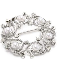 """Napier - """"gift Boxed"""" Silver-tone With Pearl Wreath Brooch - Lyst"""