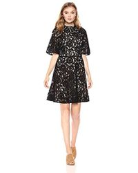 PARIS SUNDAY - Sleeve Mock Neck Short Lace Fit And Flare Dress - Lyst