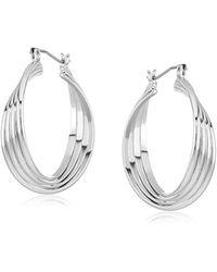 Kenneth Cole - Kenneth Cole New Trinity Rings Silver Medium Twisted Hoop Earrings - Lyst