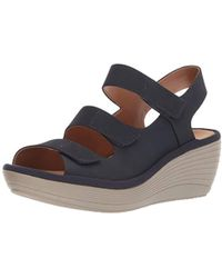 288e5fbe41ac Lyst - Clarks Reedly Salene Comfrot Wedge Sandals in Blue