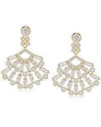 Nina - S Baguette Cluster Fan Drop Earrings - Lyst