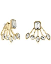 T Tahari - S Essentials Front Back Post Earrings Jacket With Stones, Gold/crystal, One Size - Lyst