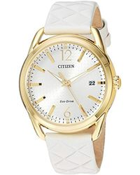Citizen - 'drive' Quartz Stainless Steel And Leather Casual Watch, Color:white (model: Fe6082-08p) - Lyst
