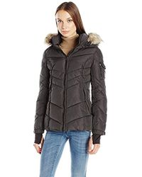 Madden Girl - Puffer Jacket With Faux Fur Hood - Lyst