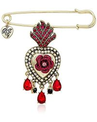 Betsey Johnson - Roses Gold And Red Queen Heart Pin - Lyst